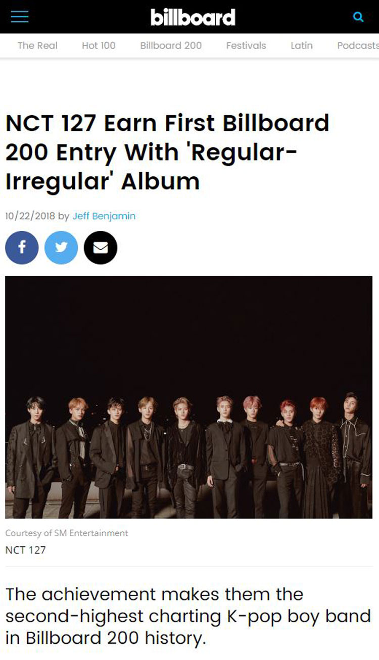 NCT 127 American Debut Album Reaches No. 86 in Billboard 200