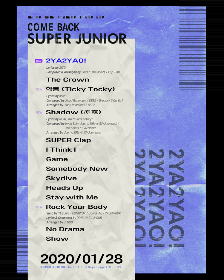[Track List] SUPER JUNIOR - The 9th Album Repackage 'TIMELESS'