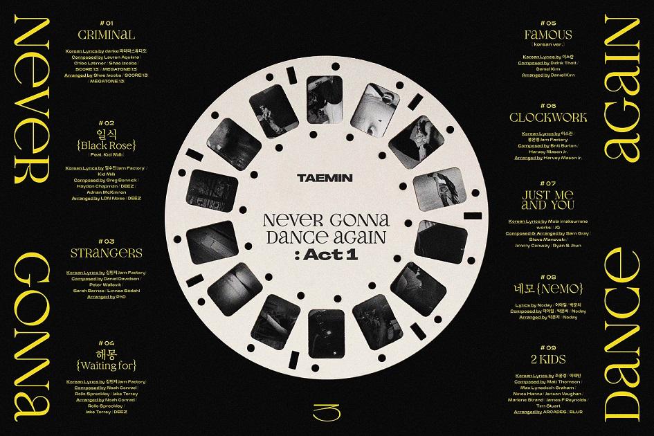 [Tracklist Image] TAEMIN - The 3rd Album 'Never Gonna Dance Again:Act 1'