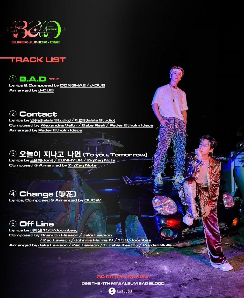 [Tracklist] SUPER JUNIOR-D&E_The 4th Mini Album 'BAD BLOOD'