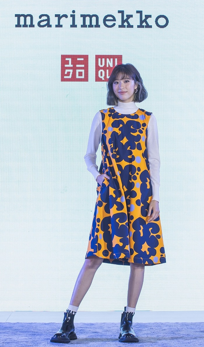 UNIQLOxMarimekko Kaew Jarinya in A-Line Dress Keida Pattern